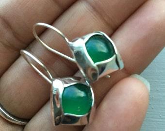 Green Onyx Earrings Green Onyx Chalcedony Earrings August Birthstone Jewelry 925 Sterling Silver Gemstone Green Gemstone Artisan Dangles