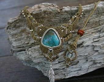 Handmade Macrame Turquoise Necklace with Feather Charm