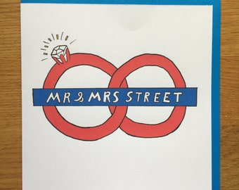 Wedding card, Mr & Mrs,  London tube, British, ring