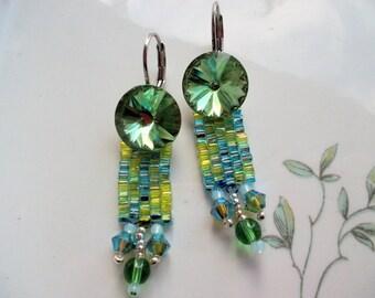Earrings peyote green,  earrings crystal green, long earrings, toho beads, sterling silver earrings, pendant earrings