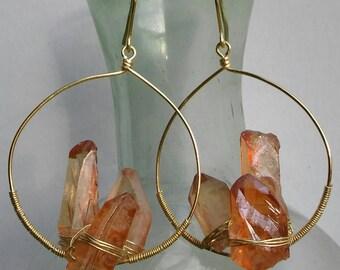 Peach crystal cluster hoops