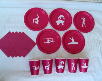 Gymnastics Party Tableware Set for 5 People - boy or girl