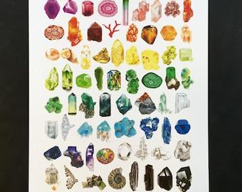 Nature's Palette Mineral Illustration 8.5x11in Art Print