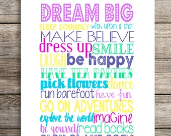 Dreams for little girls A4 Digital Print