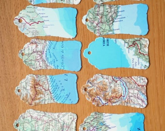 10  Atlas Gift Tags - World Map Gift Tags - Birthday / Wedding Gift Tags - Favour Tags - Party Tags