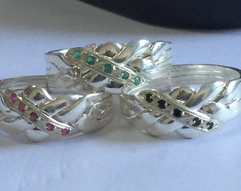925k silver ruby emerald sapphire 3 puzzle rings 4 band hand made  puzzle rings