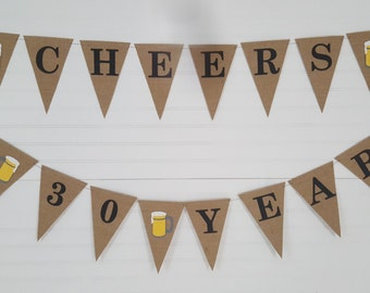 Cheers to 30 Years Birthday Banner Bunting > Beer Mug > 30th Birthday Party > Burlap Garland