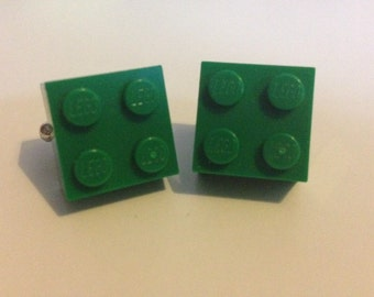 Upcycled Green brick cufflinks. Fathers day gifts, gifts for him, wedding gifts.