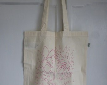 Pink leaves screen printed tote bag