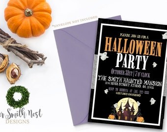 Haunted Halloween Party Invitation DIY PRINTABLE Customizable Digital Prints Halloween Party Haunted House Costume Party