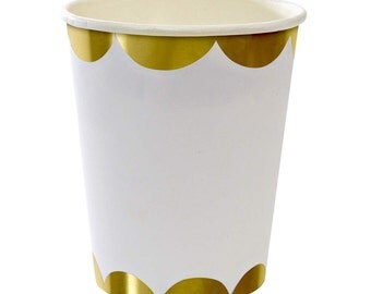 Gold Scallop Party Cups by Toot Sweet