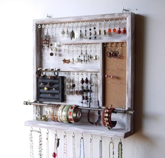 Jewelry organizer earrings holder jewelery rack necklace for Miroir range bijoux casa