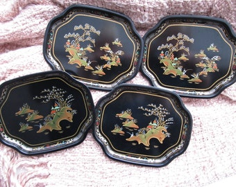 Baret Ware vintage set of 4 hore d'oeuvre trays. never used/ with box/ china garden