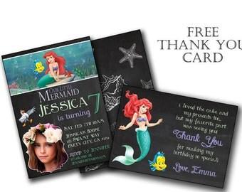 Ariel  Invitation, Ariel Birthday, Princess Ariel invitation, Little Ariel birthday invitation, Digital Invite, Customized Order, Prints