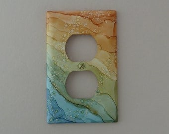 Colorful Waves, Blue, Green, Gold - Choose Your Size Outlet, Rocker, or Light Switch Cover, Painted with Alcohol Ink