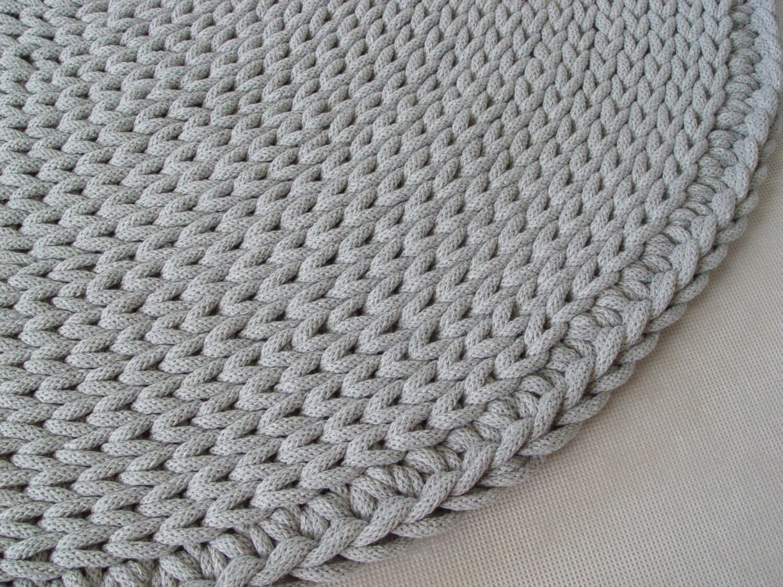 cordon en coton gris fonc rond tapis tapis au crochet. Black Bedroom Furniture Sets. Home Design Ideas