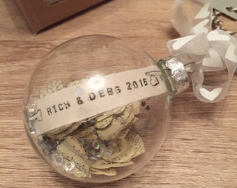 Couple's Personalised Glass Bauble