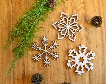 Set of 3 wood snowflakes / Wooden Christmas decor / Christmas tree decorations / Unique ornaments