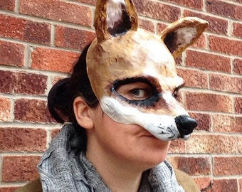 Fox mask/ Paper mache mask/papier mache mask