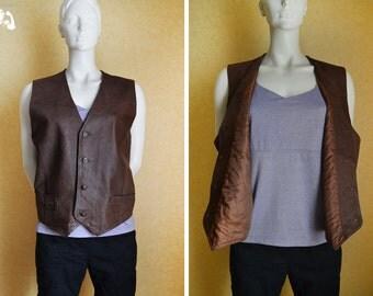 Vintage men's vest, classical waistcoat, men's leather vest, leather waistcoat, Gino Bellini vest, brown/beige vest, quality leather 137