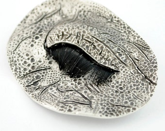 Silver brooch. Contemporary brooch. Author jewelry. Silver pendant brooch. Elephant brooch. Eye elephant brooch. Texture brooch.
