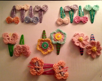 Crocheted Hair Clips