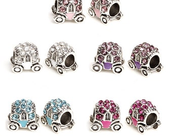Crystal Enamel Silver 5.0mm Hole Bead 11x9mm Big Hole Beads cart Princess carriage Bead Fit European Charm Bracelets Big Hole Bead Supply