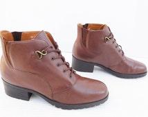 Karen Scott brown lace up ankle  boots women size 8 M