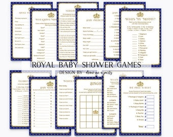 ROYAL Baby Shower Games VALUE PACK , Prince Baby Shower Game , Royal Baby Shower Bingo , Prince Baby Wishes , Printable , Instant Download