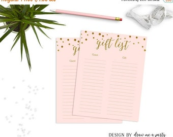 ON SALE Pink And Gold Guest Gift List Baby Shower Printable , Gift Checklist , Gift Tracker , Pink And Gold Baby Shower , Instant Download