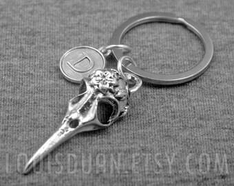 Bird Skull Key chain -Silver Bird Skull Keychain -Initial Key chain -Your Choice of A to Z