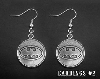 Silver Batman Earrings -Batman Dangle Earrings -Super Hero Earrings -Gift For Her -Personalized Earrings