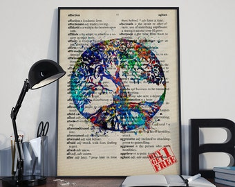Tree of Life Print on Vintage Dictionary Paper, Poster, watercolor art, Tree of life, Home decor, Wall art