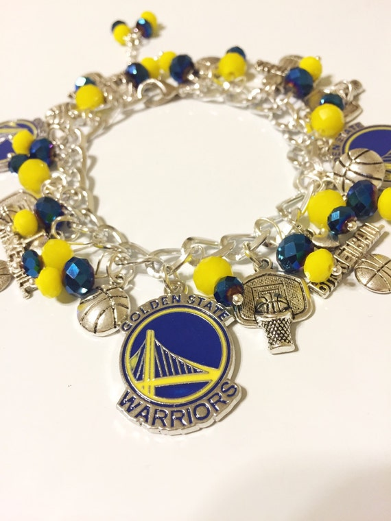 golden state warriors bracelet golden state warriors chunky charm bracelet by toshiesjewelry 1689