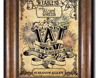 Weasleys' Wizard Wheezes - Harry Potter - Vintage Style Poster - Multiple Sizes 5x7, 8x10, 11x14, 16x20, 18x24, 20x24, 24x36