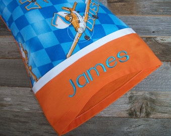 Personalized Toddler Pillow or TRAVEL Size Pillow Dusty/Planes
