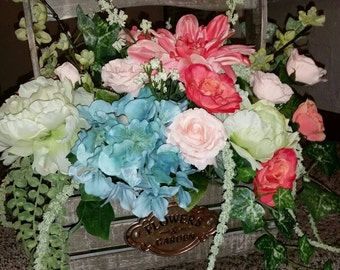 French Country/Spring Floral Basket