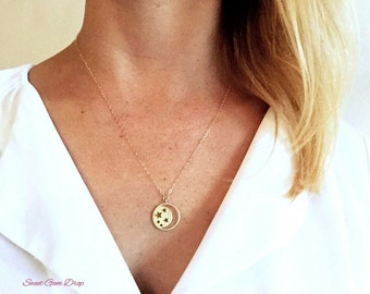 Gold moon and stars necklace, GOLD FILLED, crescent moon necklace, moon necklace, gold necklace, stars necklace, moon jewelry