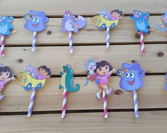 Dora the Explorer cupcake toppers