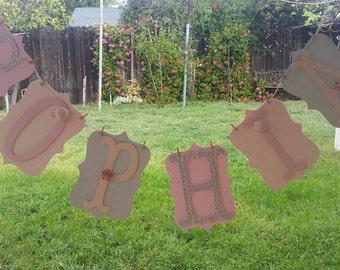 Shabby Chic banner, babyshower banner nursery room banner,pink,silver,beige