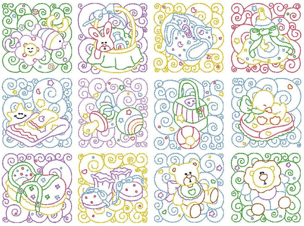 Embroidery Quilt Block Designs : Baby Quilt Blocks Machine Embroidery Designs Set of 12 Cute