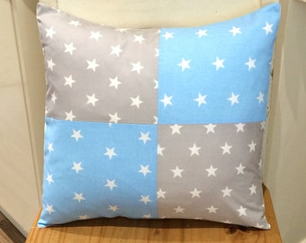 """Grey Star & Blue Star 4 square Patchwork 16"""" Cushion Cover Boysroom Bedroom Playroom Party"""