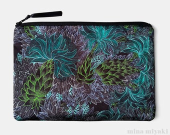 Electric Jungle Print Zipper Satin Makeup Pouch, Cosmetic bag, Toiletry, Shiny Black Green Blue Purple Purse, gift for her, Dressy Clutch
