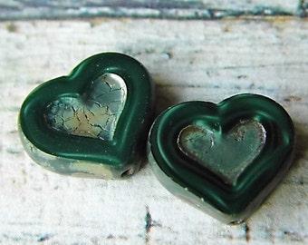 Heart of Emerald, Heart Beads, Czech Beads, Beads, N1614