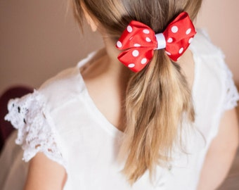 Red and White Polka Dotted Hair Bow