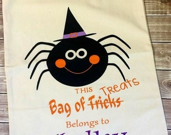 Bag of Treats Tote, Trick or Treat Tote, Trick or Treat Bag, Halloween, Halloween Bag, Halloween Tote, Personalized Halloween Bag, Treat Bag