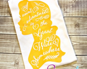 I Want Adventure in the Great Wide Somewhere Shirt, Belle, Princess Shirt, Princess,Glitter Princess Shirt,Beauty Shirt,Tale as Old As Time