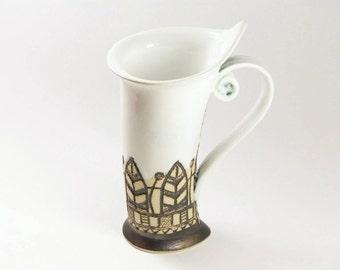 Ceramic Mug, Tea Mug, White mug, Handbuilding, Ceramics and pottery, Ceramic cup, Tea cup, Coffee cup, Coffee mug, Handmade mug, Unique mug,