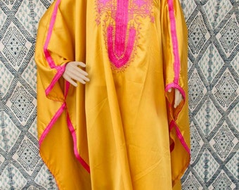 yellow caftan, byellow kaftan, yellow dress, resortwear, loungewear, morrocan caftan, berber dress,oriental dress, oriental kaftan.