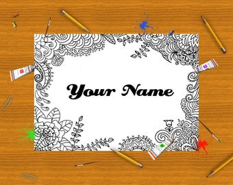 your name adult coloring page leaves nature name kids coloring download colouring art meditation zen printable print relax lasoffittadiste